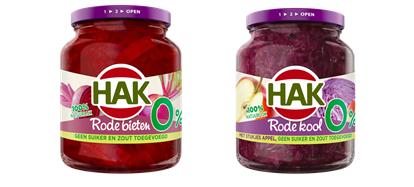 Geen toegevoegde suikers en zout in nieuwe varianten rode kool met appel en bieten van Hak