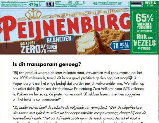 Misleidt Peijnenburg over Zero Volkoren?