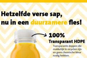 Jumbo levert verse sapflessen van gerecycled plastic